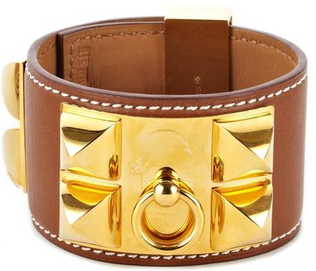 Hermes Hermes Barenia Collier De Chien Cuff in Brown - Lyst