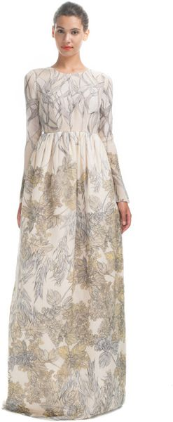 Honor  Foliage Print Evening Gown - Lyst