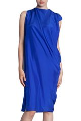 Lanvin Sleeveless Drape Dress - Lyst