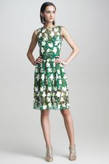 Oscar de la Renta Tulip Embroidered Organza Dress - Lyst