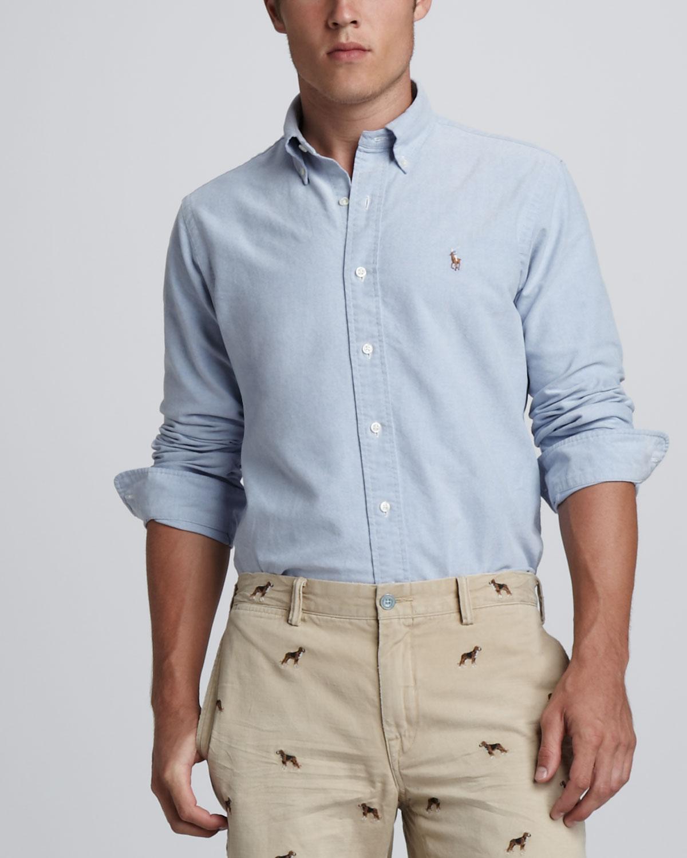 Polo ralph lauren Custom Fit Buttondown Shirt in Blue for Men | Lyst