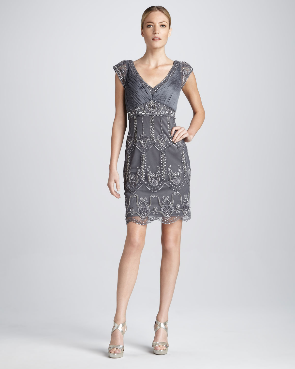 Sue wong Cap Sleeve Beaded Cocktail Dress in Metallic  Lyst