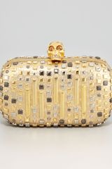 Alexander McQueen Mixed Studs Metallic Skullclasp Clutch Bag - Lyst