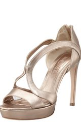 Alexander McQueen Metallic Leather Cutout Platform Sandal Rose - Lyst