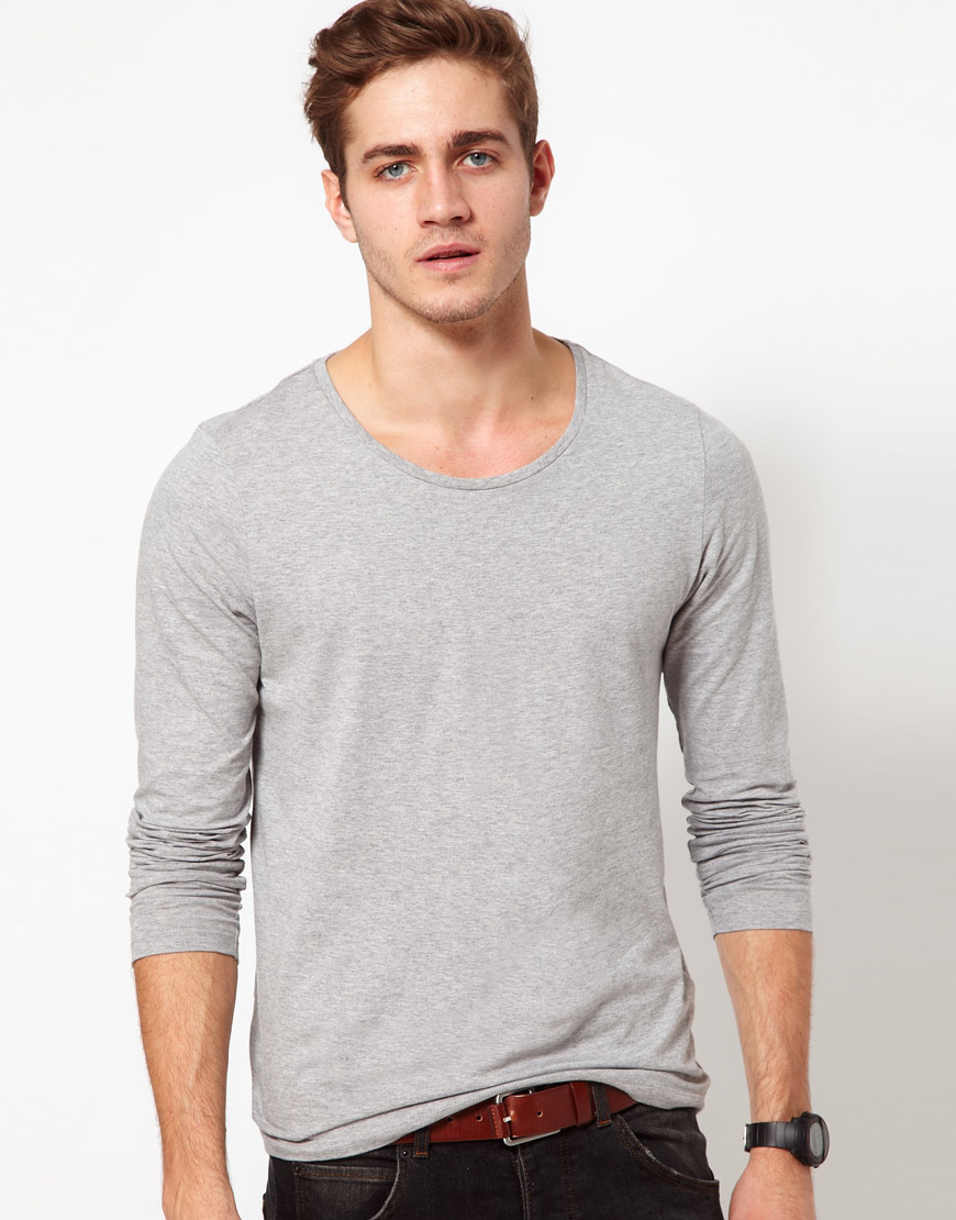 Asos long sleeve t shirt with scoop neck in gray for men for Scoop neck long sleeve shirt