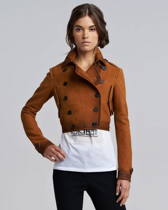 Burberry Prorsum Nubuck Cropped Flight Jacket - Lyst