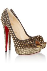 Christian Louboutin Lady Peep 150 Spikeembellished Metallic Leather Pumps in Gold - Lyst