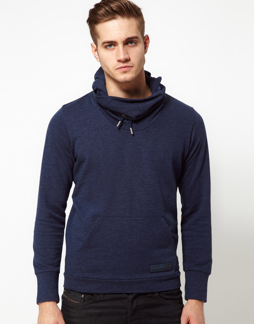 Lyst Diesel Hoodie With Funnel Neck In Blue For Men