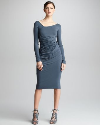 Donna Karan New York Asymmetric Draped Dress - Lyst