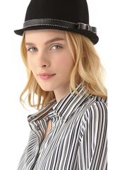 Juicy Couture Short Fedora with Studded Ribbon - Lyst