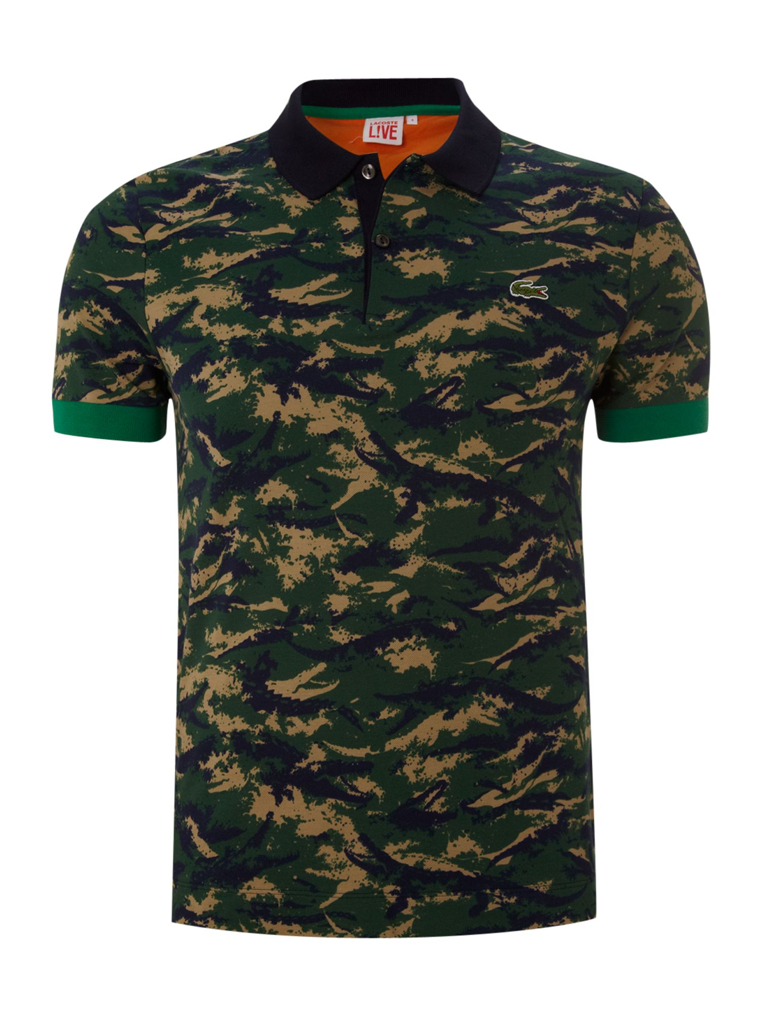 Lacoste live slim fitted camo printed polo shirt in blue for Camo polo shirts for men