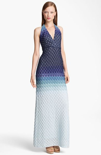 Missoni Dégradé Halter Gown in Blue (blue degrade) - Lyst