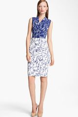 Missoni Intarsia Knit Faux Wrap Dress in Blue (blue white) - Lyst