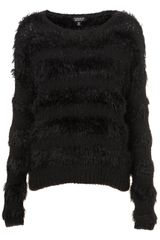 Topshop Knitted Fluffy Stripe Jumper - Lyst