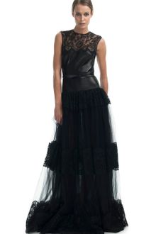Valentino  Leather Bodice Gown - Lyst