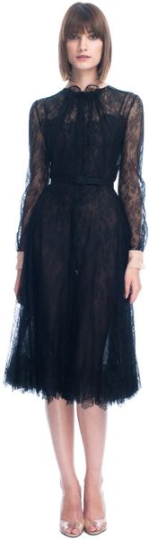 Valentino  Lace Long Sleeve Dress in Black (nero/cipria) - Lyst