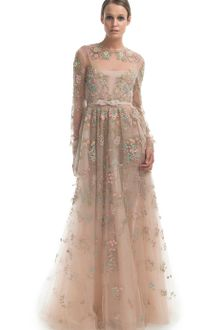 Valentino  Long Sleeve Floral Embroidered Gown - Lyst