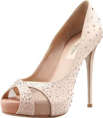 Valentino Crystalcovered Satin Pump - Lyst