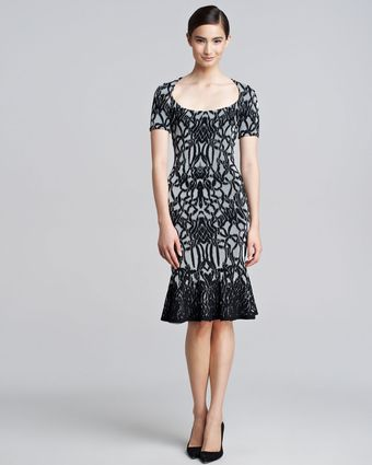 Zac Posen Jacquard Fluted Dress - Lyst