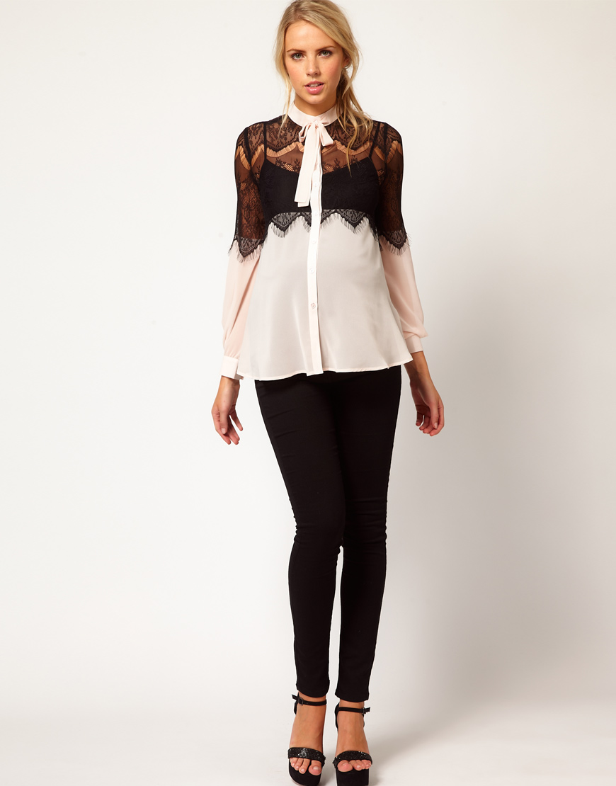 Asos Maternity Blouse With Lace Trim 2
