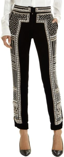 Balmain Pearl and Crystal Embroidered Pants - Lyst