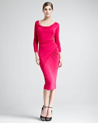 Donna Karan New York Draped Scoop Neck Jersey Dress - Lyst
