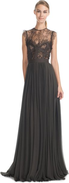 Elie Saab Charcoal Lace and Grosgrain Long Dress in Gray (charcoal) - Lyst
