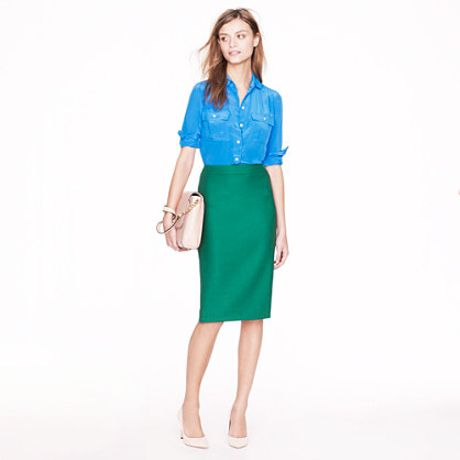 j crew no 2 pencil skirt in doubleserge wool in green