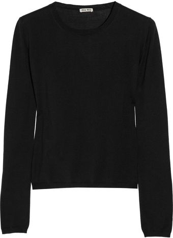 Miu Miu Cashmere and Silk Blend Sweater - Lyst