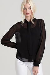 Rachel Zoe  Tie Collar Top - Lyst