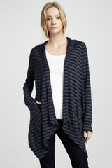 Splendid Striped Hooded Open Cardigan - Lyst