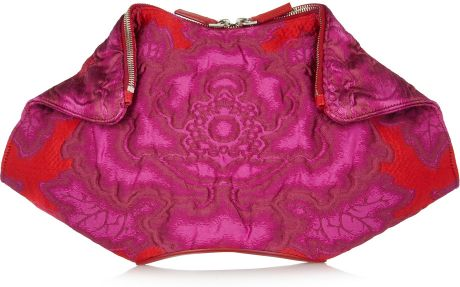 Alexander Mcqueen De Manta Brocade Clutch in Purple (fuchsia)