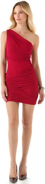 Alice + Olivia One Shoulder Goddess Dress in Red
