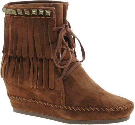 Ash Sante Fe Lace Up Tassled Wedge Boots in Brown (rosewood) - Lyst