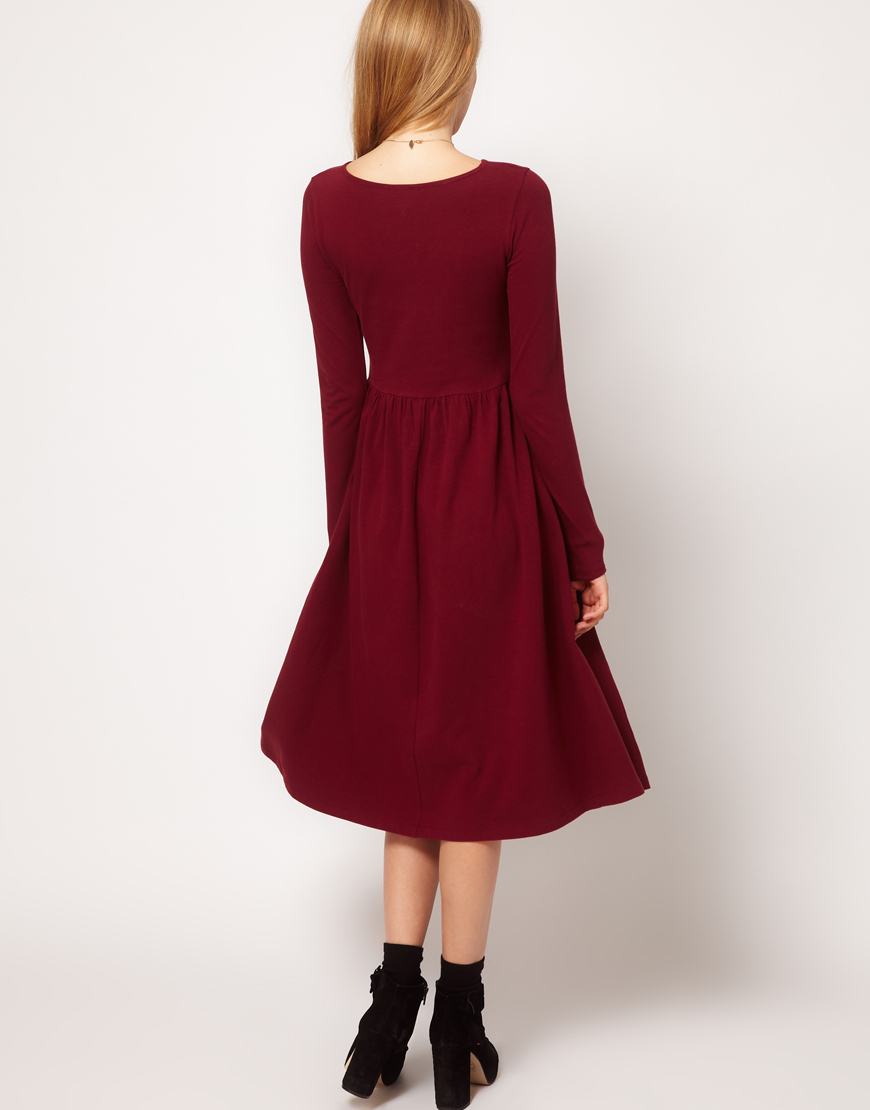 0f1fcbf438c8f Lyst - ASOS Collection Midi Dress with Long Sleeve in Purple