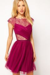 ASOS Collection Skater Dress with Cobweb Lace - Lyst