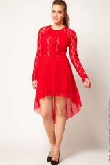 Asos Curve Skater Dress with Lace Insert and High Low Hem - Lyst