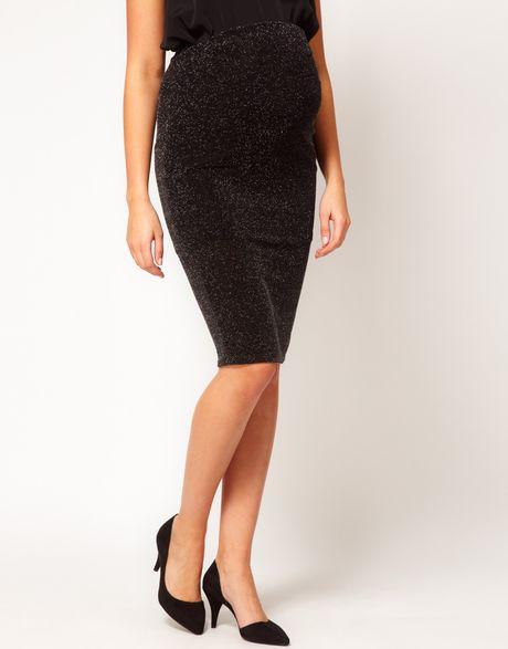 asos maternity sparkle pencil skirt in black blacksilver