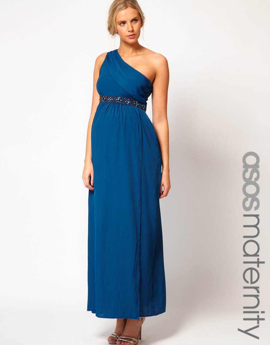 Asos maxi dress with one shoulder and embellishment in blue lyst gallery ombrellifo Images