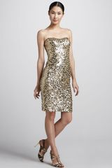 Badgley Mischka Sequined Strapless Cocktail Dress - Lyst