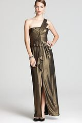 BCBGMAXAZRIA  Barbara Metallic One Shoulder Gown - Lyst