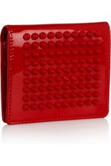 Christian Louboutin Spiked Patentleather Wallet in Red - Lyst