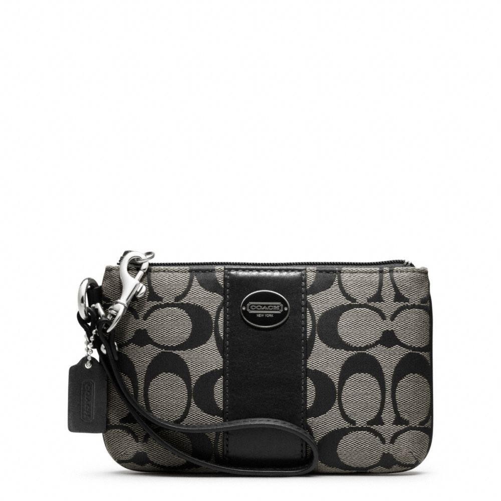 Lyst Coach Legacy Signature Small Wristlet In Gray
