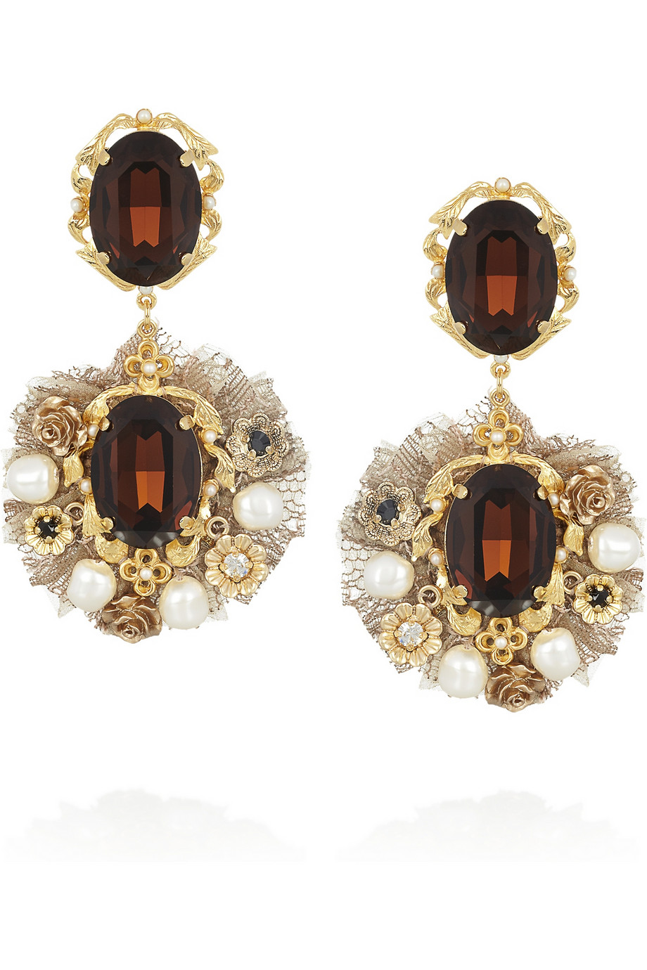 dolce gabbana goldtone crystal and faux pearl clip