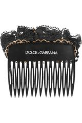 Dolce & Gabbana Swarovski Glass Pearl and Lace Hair Slide in Black (pearl) - Lyst