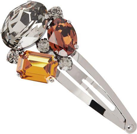 Dolce & Gabbana Swarovski Crystal Hair Clip in Silver (pewter)