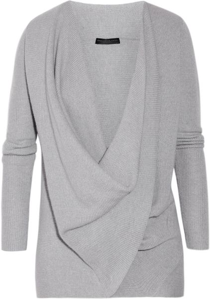 Donna Karan New York Draped Crossfront Cashmere Sweater in Gray - Lyst