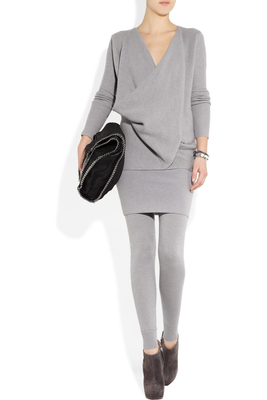 donna karan draped crossfront cashmere sweater in gray lyst. Black Bedroom Furniture Sets. Home Design Ideas