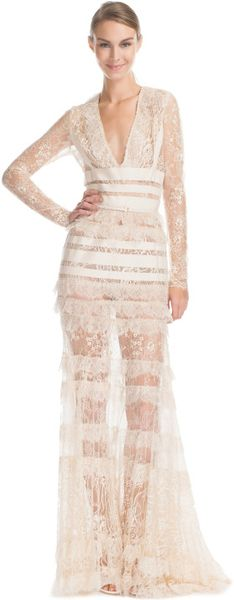 Elie Saab Vanilla Lace Long Vneck Dress - Lyst