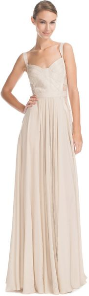 Elie Saab Vanilla Silk Georgette and Lace Long Dress - Lyst